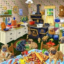 Пазл онлайн: Собаки и пицца