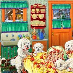Пазл онлайн: Собаки и паста