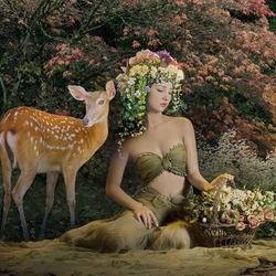 Пазл онлайн: Девушка с олененком