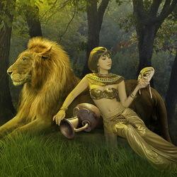 Пазл онлайн: Девушка и лев