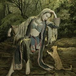 Пазл онлайн: Девушка и кошка