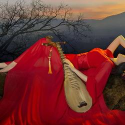 Пазл онлайн: Девушка с музыкальным инструментом