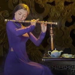 Пазл онлайн: Девушка с флейтой