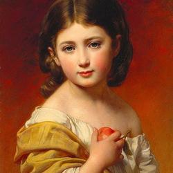 Пазл онлайн: Девочка с яблоком