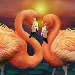 Пазл онлайн: Влюбленные фламинго