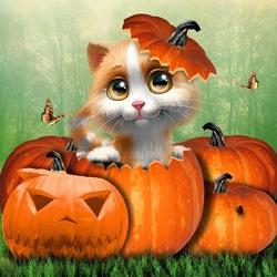 Пазл онлайн: Хэллоуинский котенок