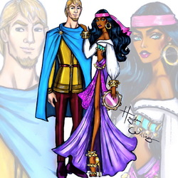 Пазл онлайн: Эсмеральда и Фебус