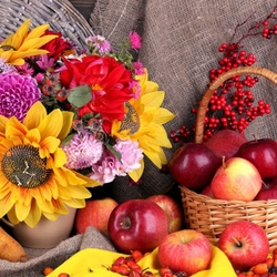 Пазл онлайн: Яблоки и цветы