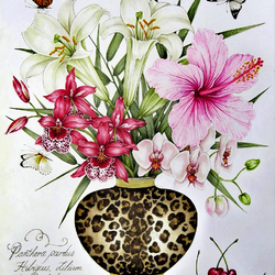 Пазл онлайн: Букет с орхидеями