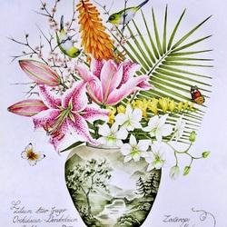Пазл онлайн: Букет с лилиями