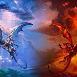 Пазл онлайн: Дракон небесный и дракон из Бездны