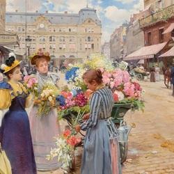 Пазл онлайн: Парижская цветочница