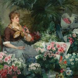 Пазл онлайн: Продавщица цветов