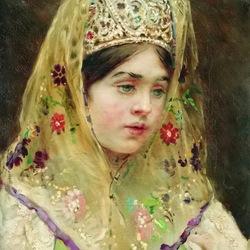 Пазл онлайн: Портрет девушки в русском костюме
