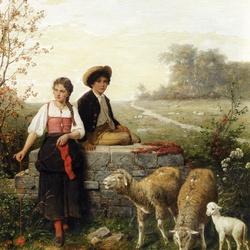 Пазл онлайн: Пастушок
