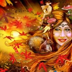 Пазл онлайн: Девушка осень