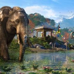 Пазл онлайн: Слоники у воды