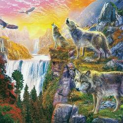 Пазл онлайн: Осенние волки