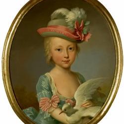 Пазл онлайн: Девочка с голубем