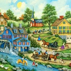 Пазл онлайн: Деревня у реки
