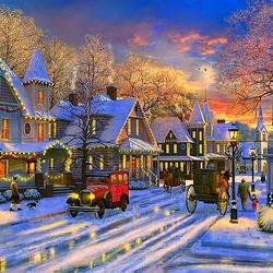 Пазл онлайн: Рождество в маленьком городке