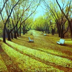 Пазл онлайн: По золотой аллее парка