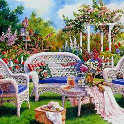 Пазл онлайн: Уютный уголок в саду