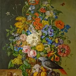 Пазл онлайн: Натюрморт с цветами и попугаем