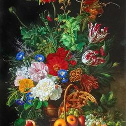 Пазл онлайн: Букет и корзина с фруктами