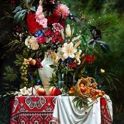 Пазл онлайн: Букет цветов и корзина фруктов
