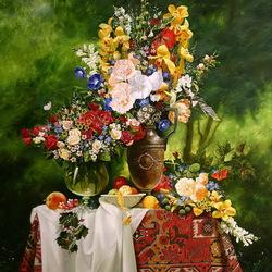 Пазл онлайн: Цветы в вазах и фрукты
