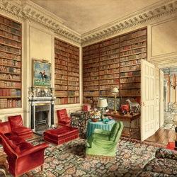 Пазл онлайн: Библиотека замка Дичли, графство Оксфордшир