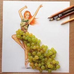 Пазл онлайн: Платье из винограда