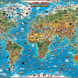 Пазл онлайн: Иллюстрированные карты мира