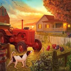 Пазл онлайн: Сумерки на ферме