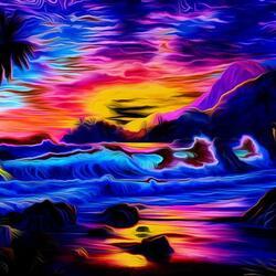 Пазл онлайн: Тропический закат