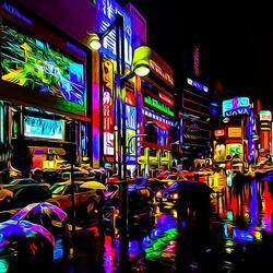 Пазл онлайн: Дождливый Токио