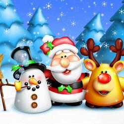 Пазл онлайн: Санта и его друзья