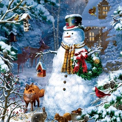 Пазл онлайн: Зимовье снеговика