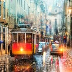 Пазл онлайн: Дождливый Лиссабон