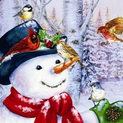 Пазл онлайн: Счастливый снеговик