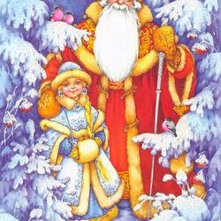 Пазл онлайн: Дед Мороз с внучкой