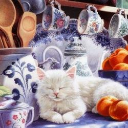 Пазл онлайн: Кошки на окошке