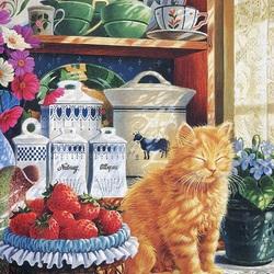 Пазл онлайн: Кошка на окошке