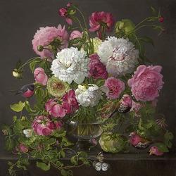 Пазл онлайн: Розы и пионы