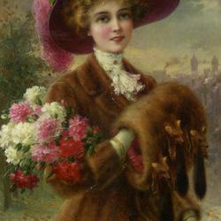 Пазл онлайн: Дама с гвоздиками