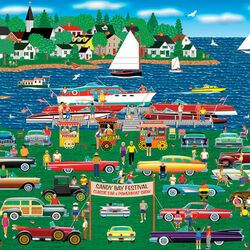 Пазл онлайн: Классическое шоу автомобилей и лодок