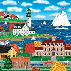 Пазл онлайн: Осень в прибрежном городке