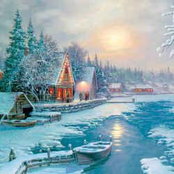 Пазл онлайн: Зима на озере