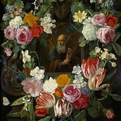 Пазл онлайн: Икона в цветочной гирлянде
